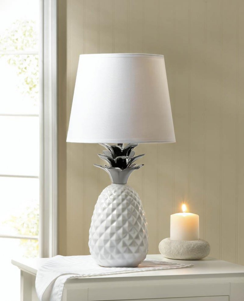 Image 0 of White Porcelain Pineapple Table Lamp w/ Silver Spiked Leaves Shade Included