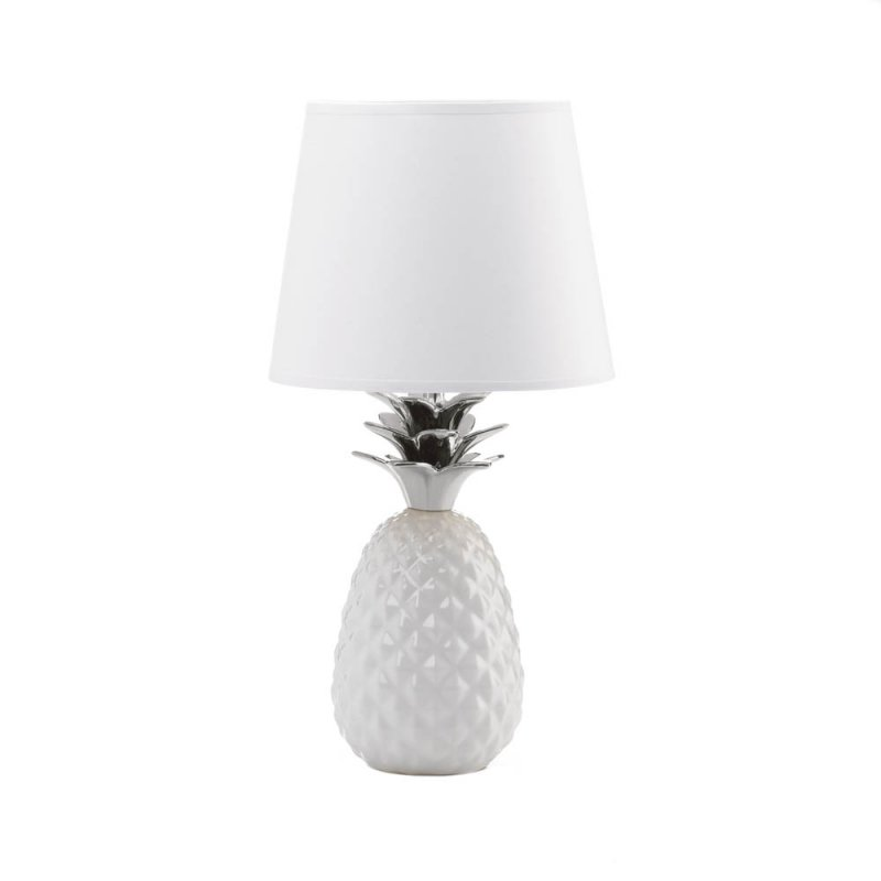 Image 1 of White Porcelain Pineapple Table Lamp w/ Silver Spiked Leaves Shade Included
