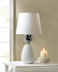 White Porcelain Pineapple Table Lamp w/ Silver Spiked Leaves Shade Included