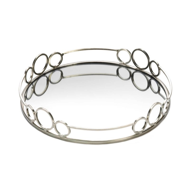 Image 1 of Modern Silver Circles Mirrored Display Tray for Vanity, Accent Table
