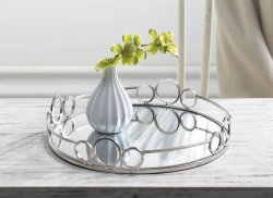 Modern Silver Circles Mirrored Display Tray for Vanity, Accent Table