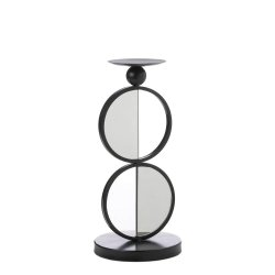 Modern Black Double Circle Mirrored Pillar Candle Holder Stand
