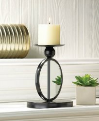Modern Black Single Circle Mirrored Candle Wall Sconce