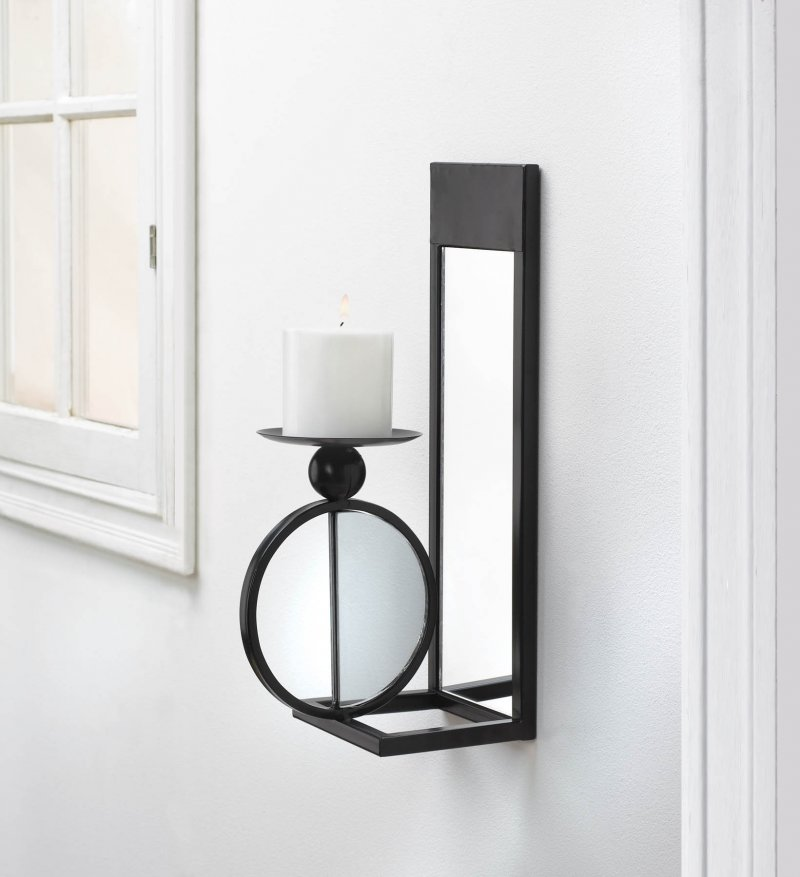 Image 0 of Modern Black Single Circle Mirrored Candle Wall Sconce