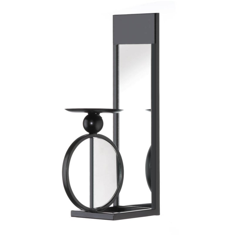 Image 1 of Modern Black Single Circle Mirrored Candle Wall Sconce