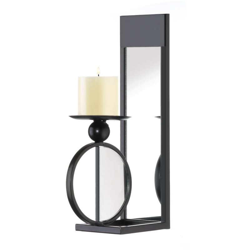 Image 2 of Modern Black Single Circle Mirrored Candle Wall Sconce