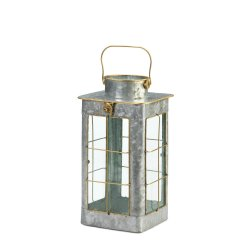 Farmhouse Style Iron Candle Lantern w/ Gold Trim Glass Window Panes