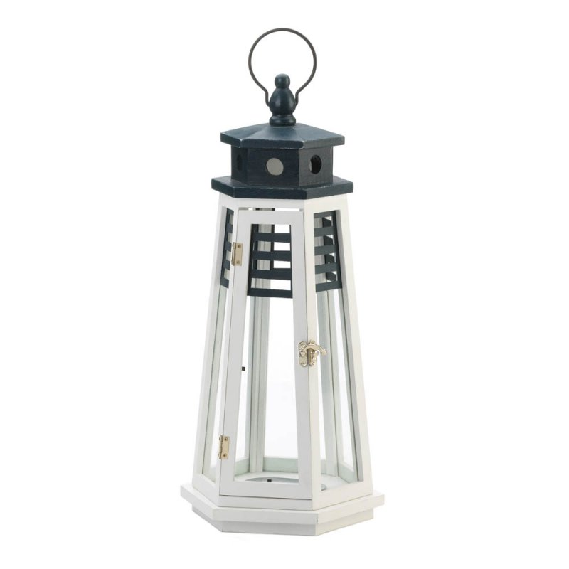 Image 0 of Large White & Navy Blue Wooden Lighthouse Candle Lantern Glass Panes