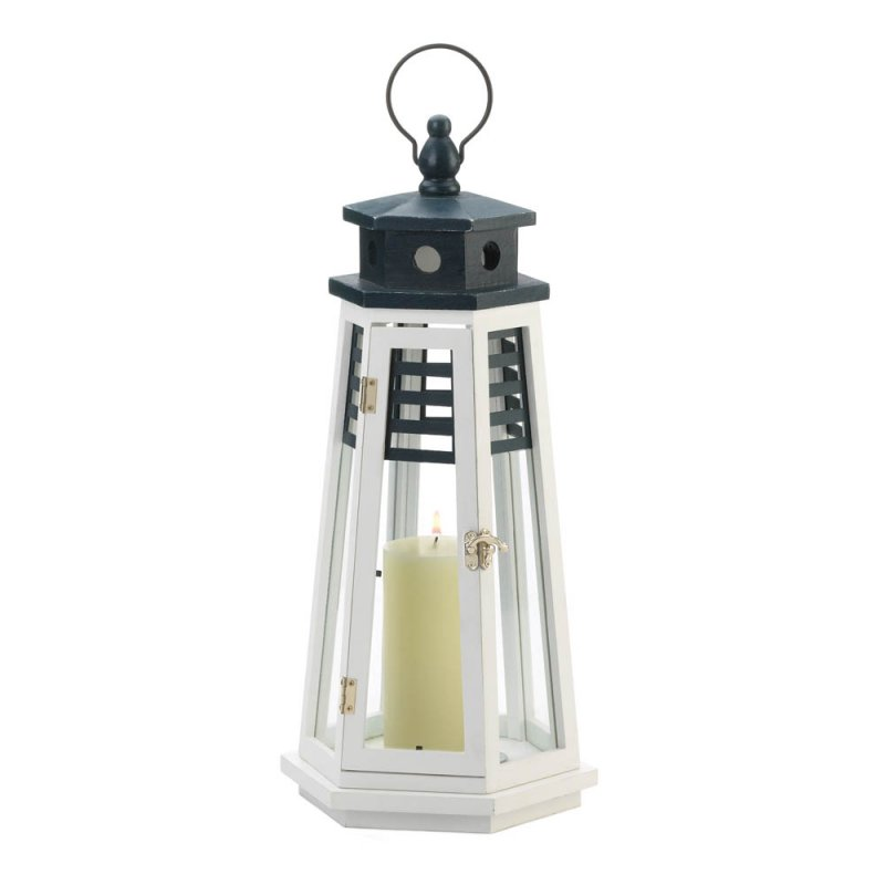 Image 1 of Large White & Navy Blue Wooden Lighthouse Candle Lantern Glass Panes