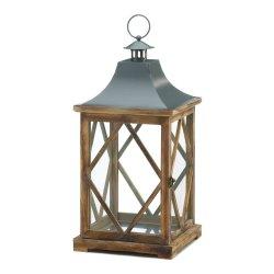 Large Diamond Lattice Pine Wood Frame Candle Lantern w/ Glass Panes