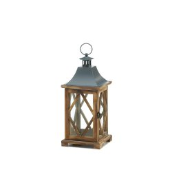 Diamond Lattice Pine Wood Frame Candle Lantern w/ Glass Panes