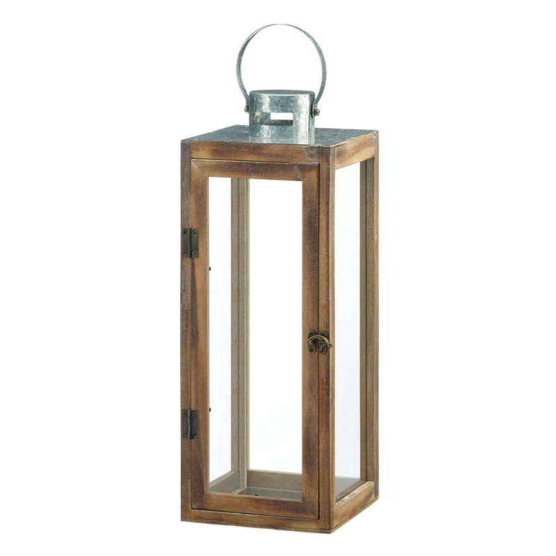 Image 0 of Large Square Wooden Candle Lantern w/ Galvanized Metal Top, Glass Panes