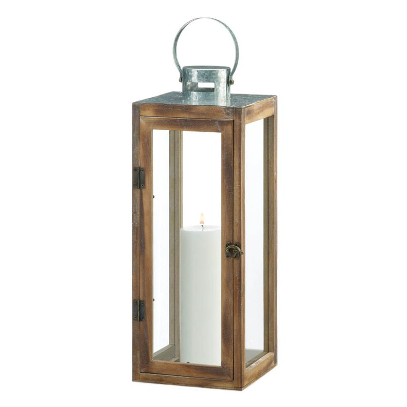 Image 1 of Large Square Wooden Candle Lantern w/ Galvanized Metal Top, Glass Panes