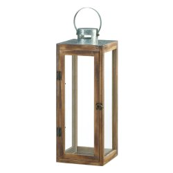 Large Square Wooden Candle Lantern w/ Galvanized Metal Top, Glass Panes
