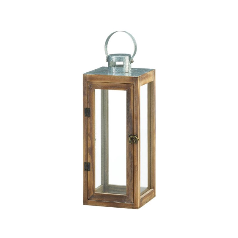 Image 0 of Square Wooden Candle Lantern w/ Galvanized Metal Top, Glass Panes