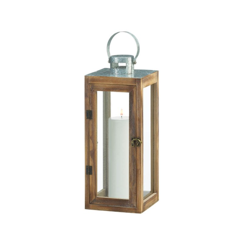 Image 1 of Square Wooden Candle Lantern w/ Galvanized Metal Top, Glass Panes