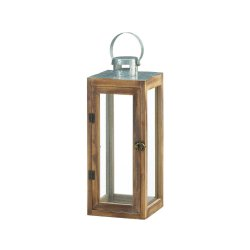 Square Wooden Candle Lantern w/ Galvanized Metal Top, Glass Panes