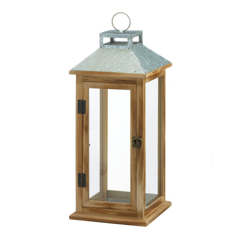 Image 0 of Wooden Candle Lantern w/ Galvanized Metal Pitched Roof Top, Glass Panes