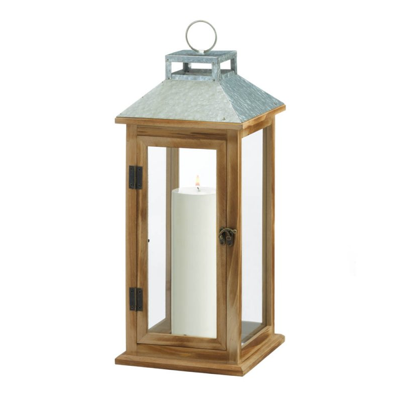 Image 1 of Wooden Candle Lantern w/ Galvanized Metal Pitched Roof Top, Glass Panes
