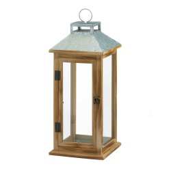 Wooden Candle Lantern w/ Galvanized Metal Pitched Roof Top, Glass Panes