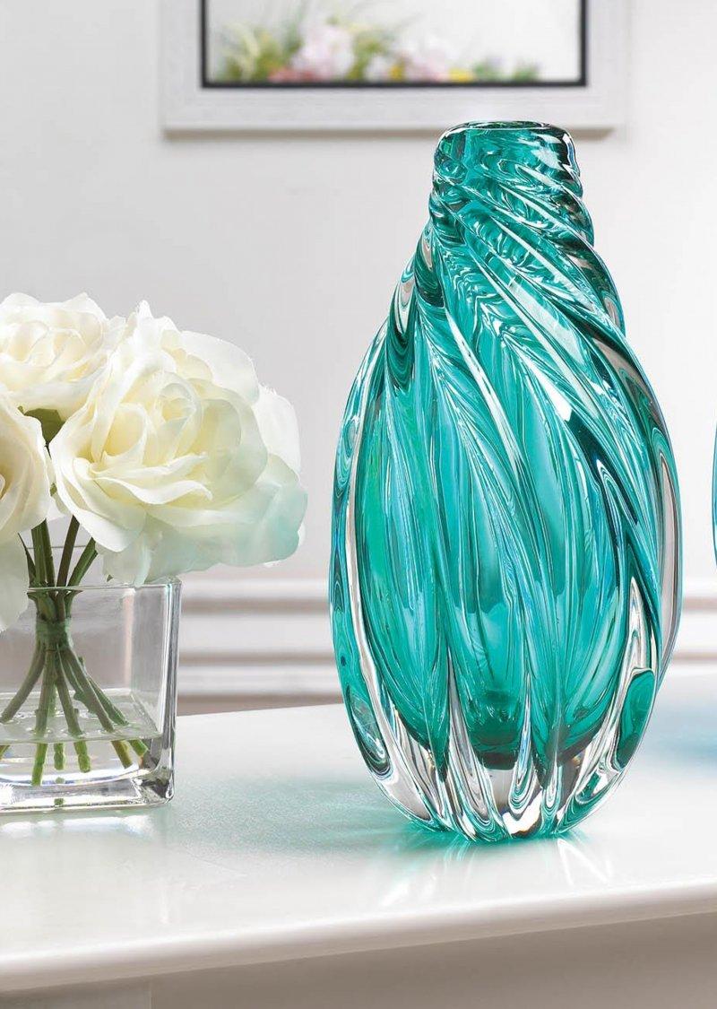 Image 0 of Ocean Aquamarine Spiral Decorative Art Glass Vase