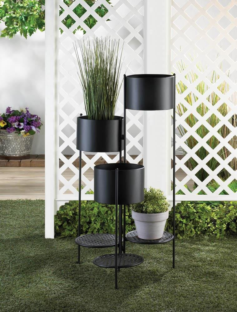 Image 0 of Three Tier Barrel Bucket Plant Stand w/ 3 Platforms for Potted Plants