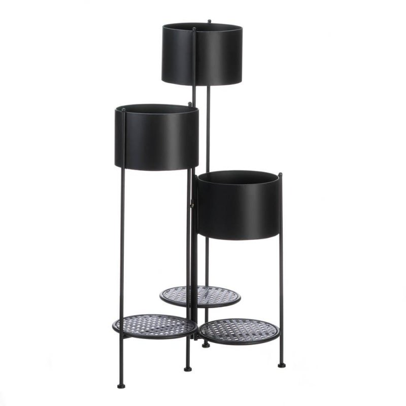 Image 1 of Three Tier Barrel Bucket Plant Stand w/ 3 Platforms for Potted Plants