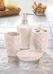 4-pc. Porcelain Fleur-de-Lis Bone White Finish Bath Accessory Set