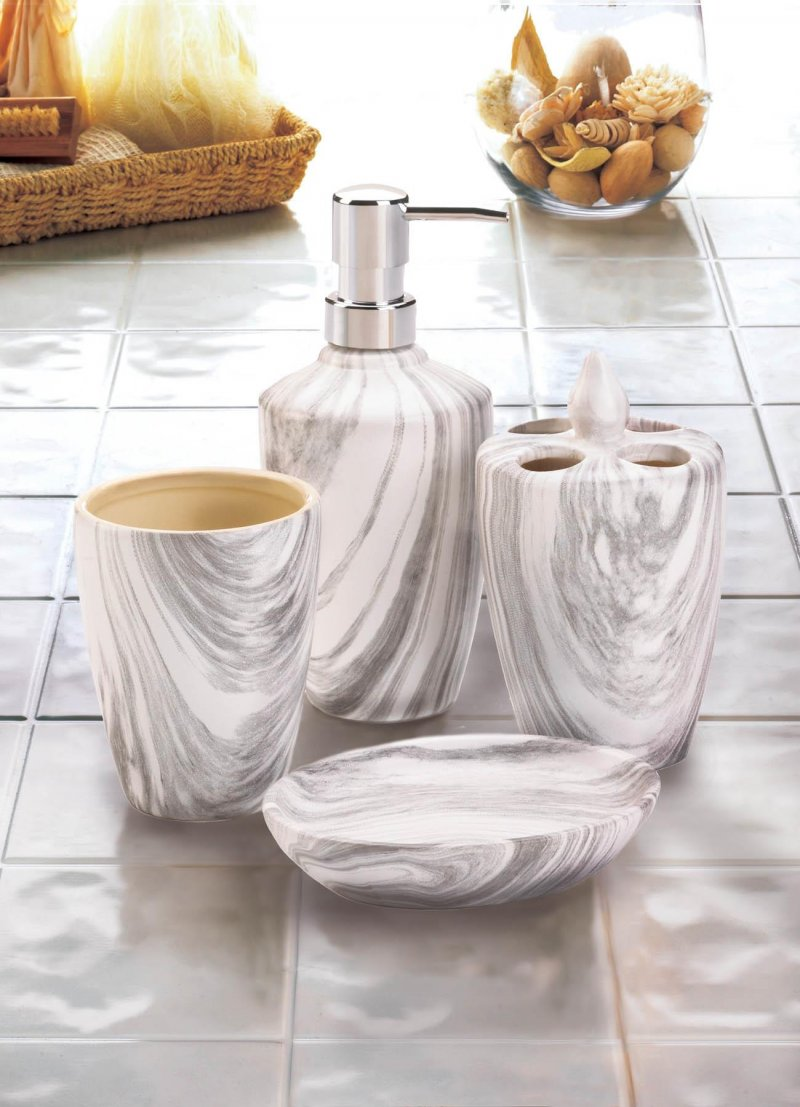 Image 0 of 4-pc. Porcelain Printed Gray Marble Finish Bath Accessory Set