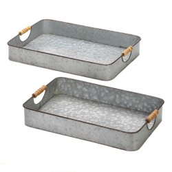 Set of 2 Farmhouse Galvanized Metal Serving Trays w/ Wooden Handles