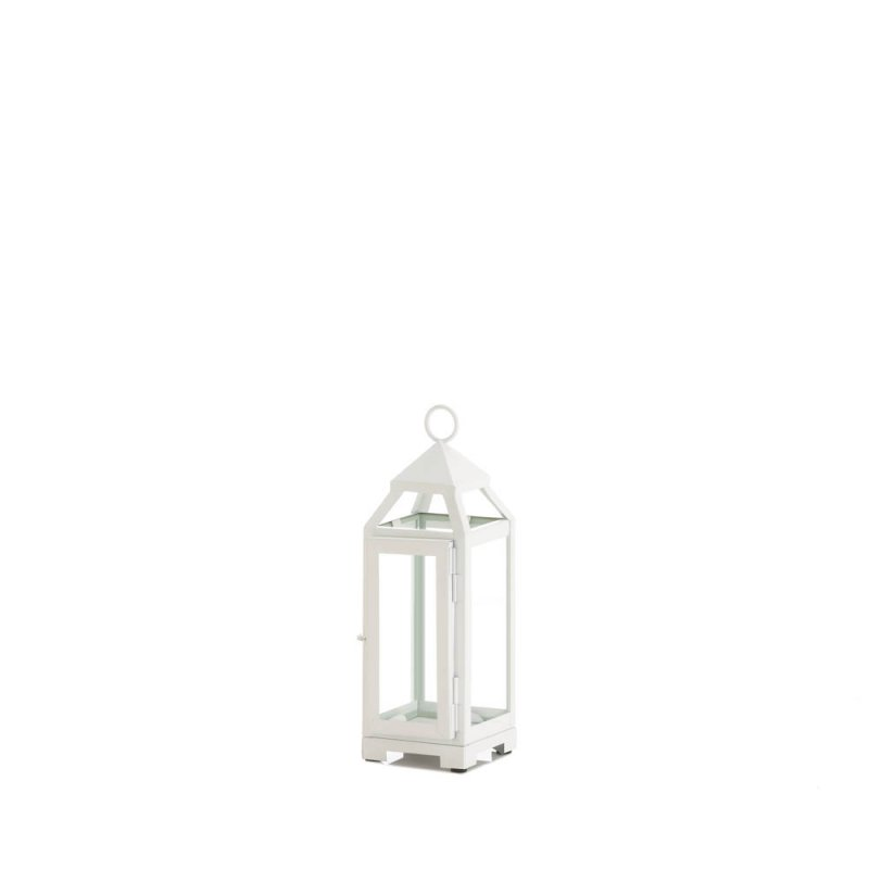 Image 0 of Mini Country White Candle Lantern Glass Panels on Sides Open Top