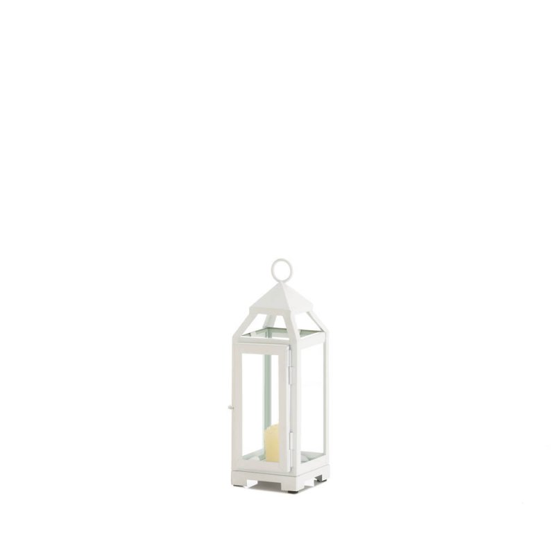 Image 1 of Mini Country White Candle Lantern Glass Panels on Sides Open Top