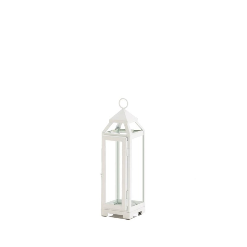 Image 0 of Small Country White Candle Lantern Glass Panels on Sides Open Top Indoor/Outdoor