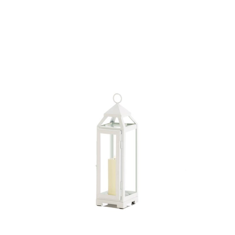 Image 1 of Small Country White Candle Lantern Glass Panels on Sides Open Top Indoor/Outdoor