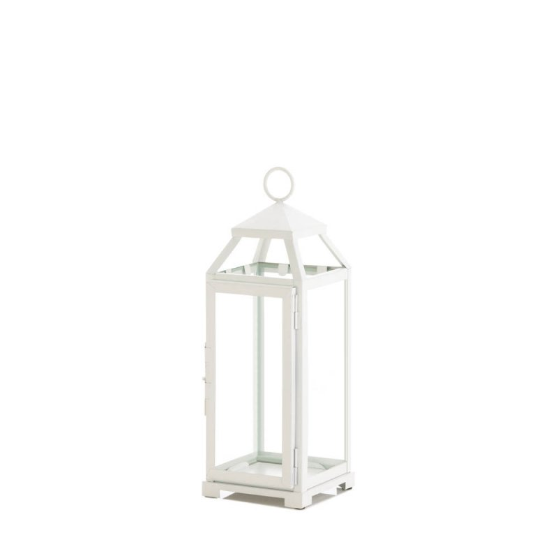 Image 0 of Medium Country White Candle Lantern Use Indoor/Outdoor