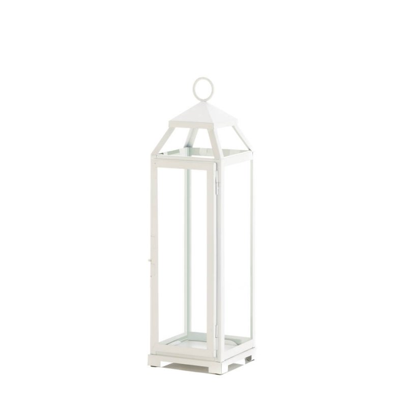 Image 0 of Large Country White Candle Lantern Glass Panels Open Top Indoor/Outdoor