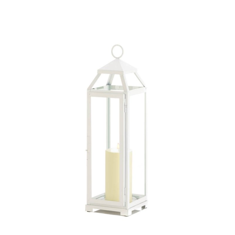 Image 1 of Large Country White Candle Lantern Glass Panels Open Top Indoor/Outdoor