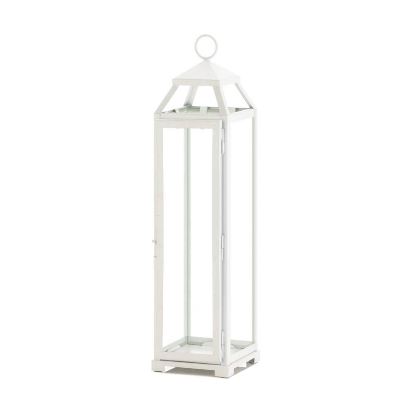 Image 0 of Tall Country White Candle Lantern Glass Panels Open Top Indoor/Outdoor