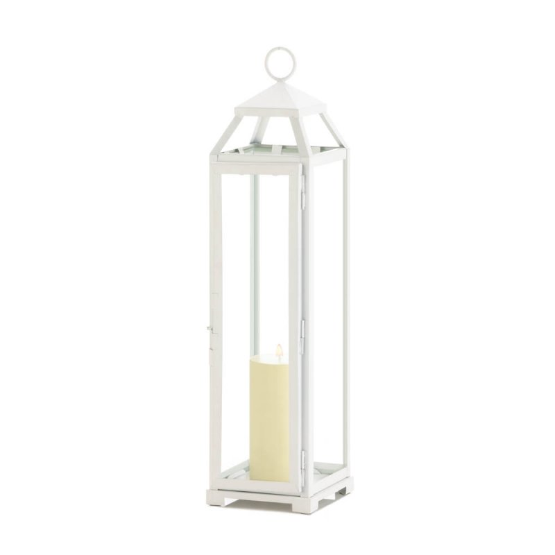 Image 1 of Tall Country White Candle Lantern Glass Panels Open Top Indoor/Outdoor