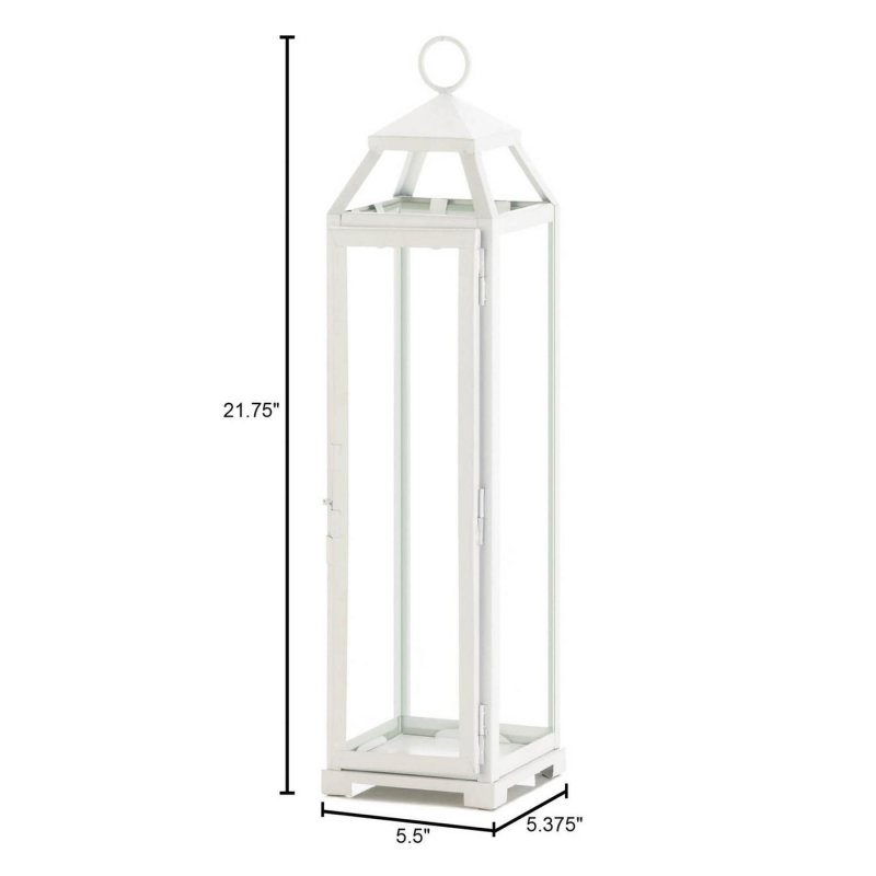 Image 2 of Tall Country White Candle Lantern Glass Panels Open Top Indoor/Outdoor