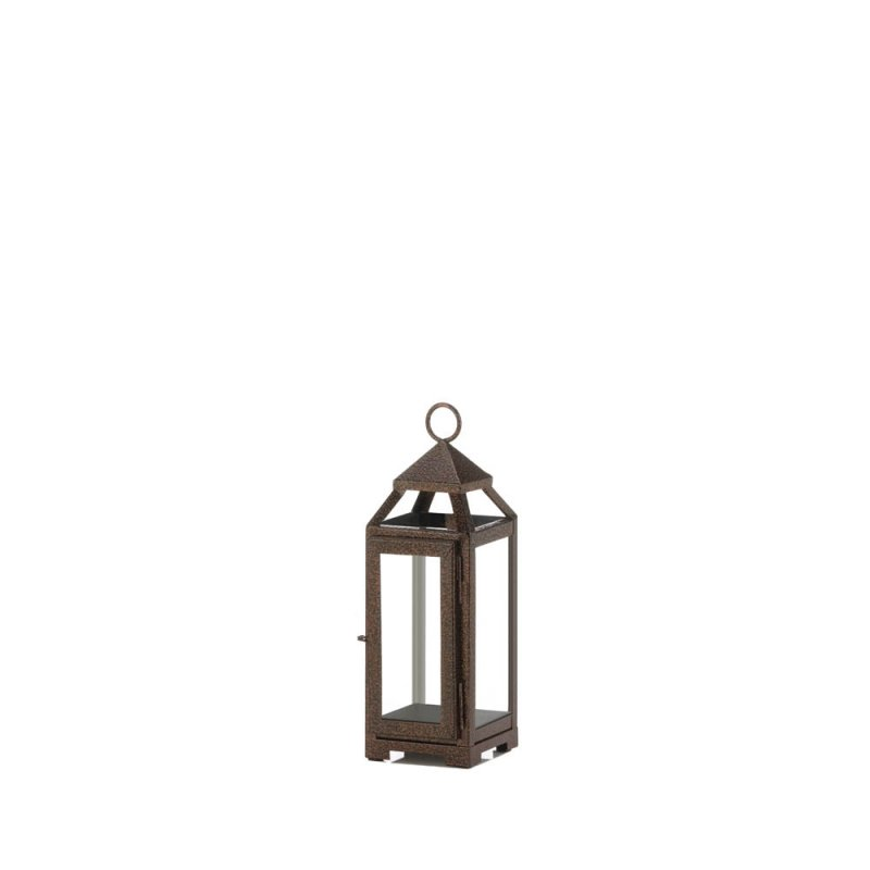 Image 0 of Rustic Chic Mini Candle Lantern Speckled Copper Finish Glass Panels