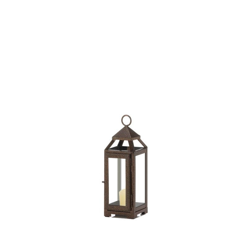Image 1 of Rustic Chic Mini Candle Lantern Speckled Copper Finish Glass Panels