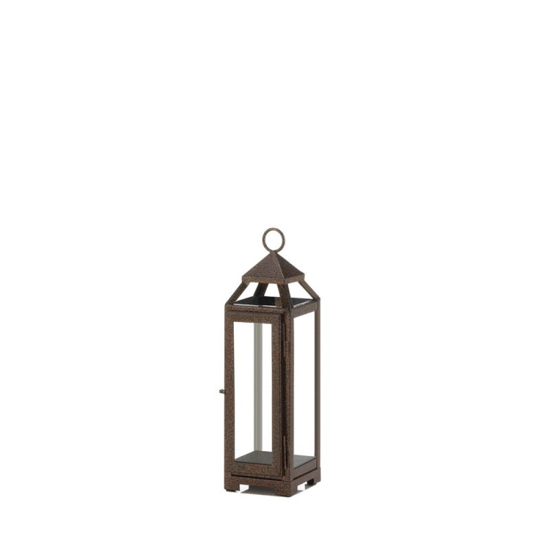 Image 0 of Rustic Chic Small Candle Lantern Speckled Copper Finish Glass Panels