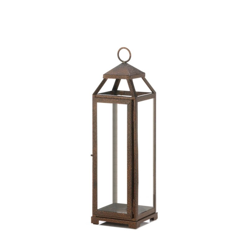 Image 0 of Rustic Chic Large Candle Lantern Speckled Copper Finish Glass Panels