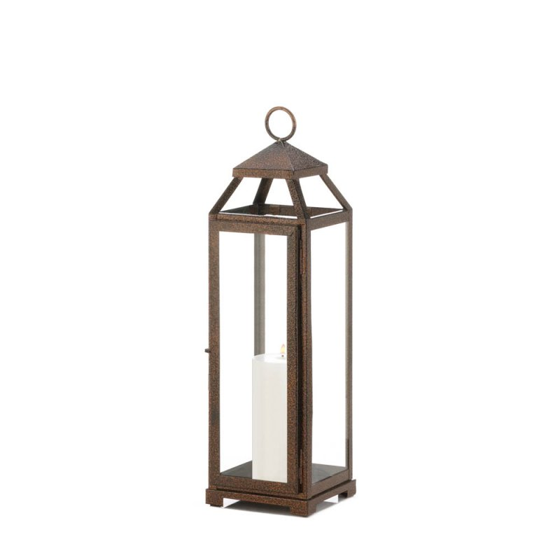 Image 1 of Rustic Chic Large Candle Lantern Speckled Copper Finish Glass Panels
