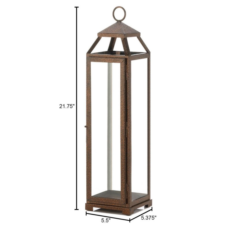 Image 2 of Rustic Chic Extra Tall Candle Lantern Speckled Copper Finish Glass Panels