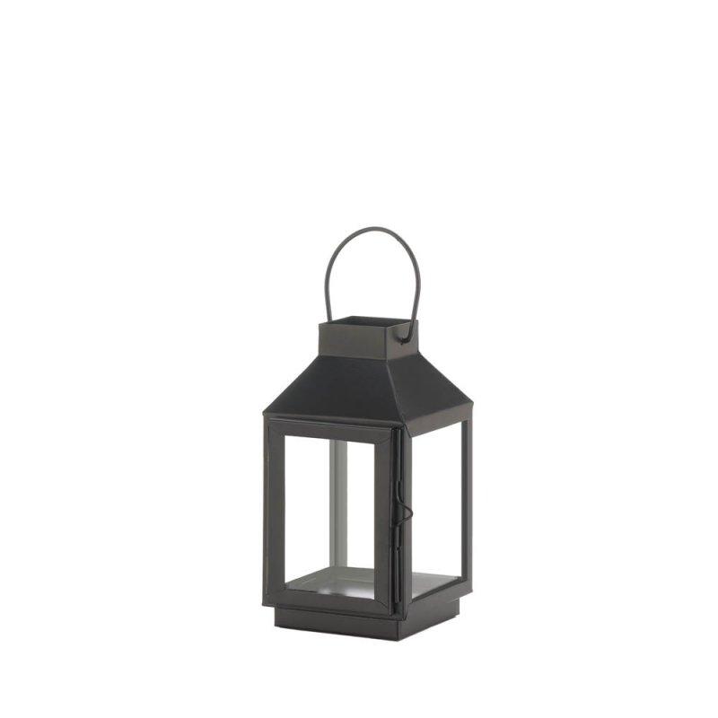Image 0 of Charming Mini Matte Black Square Top Candle Lantern w/ Large Loop