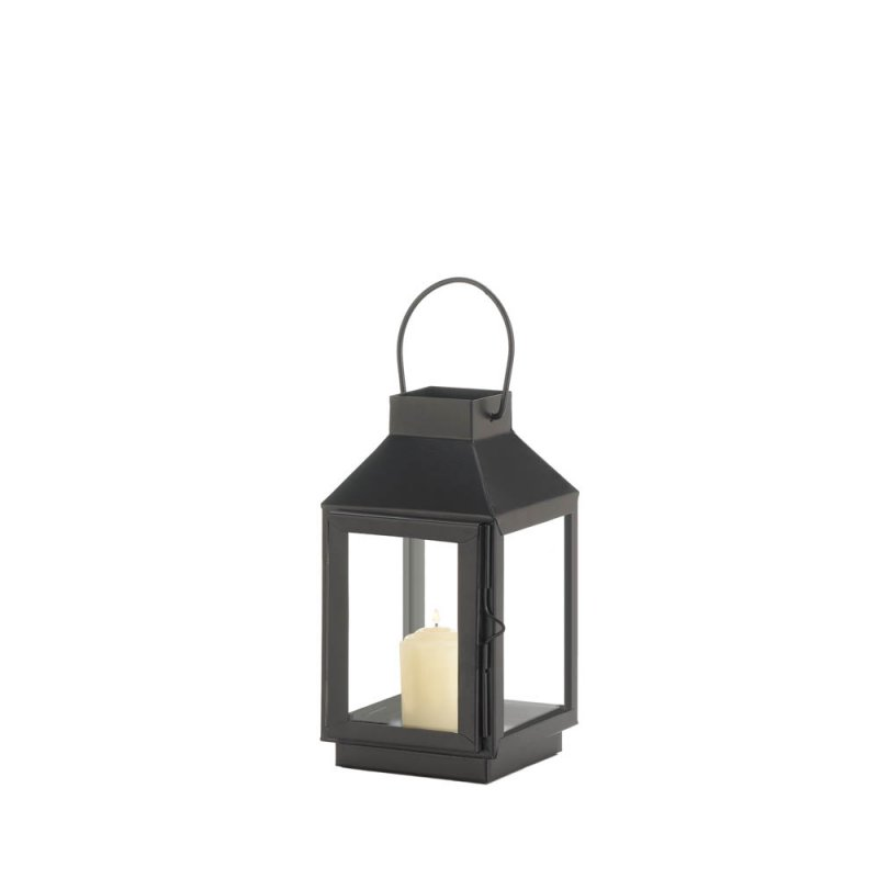 Image 1 of Charming Mini Matte Black Square Top Candle Lantern w/ Large Loop