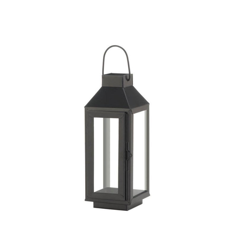 Image 0 of Charming Small Matte Black Square Top Candle Lantern w/ Large Loop