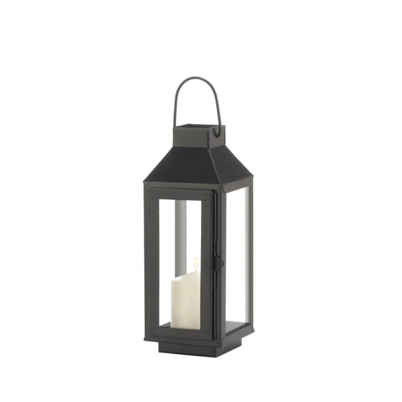 Image 1 of Charming Small Matte Black Square Top Candle Lantern w/ Large Loop